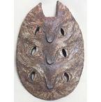 猫の顔3つ:陶の壁掛け