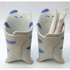猫の陶のお砂糖入れ(青しま)