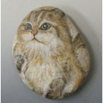 ペーパーウエイト 石に描いた猫