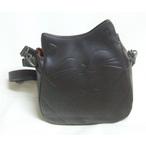 猫の革のポシェット(黒)
